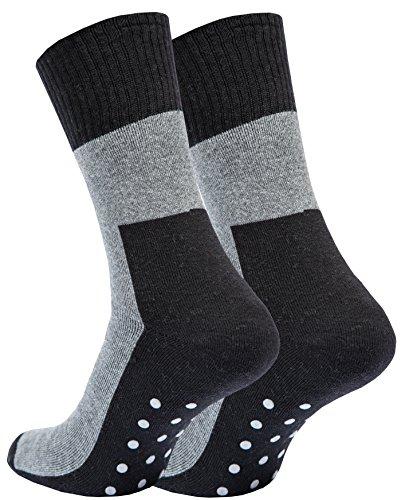 4 Paar ABS Socken Vollplüsch, Anti Rutsch Socken Stoppersocken Bi-Color Schwarz / Grau , Gr- 43/46