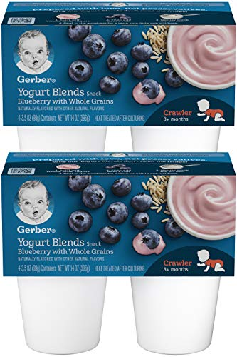 Gerber Yogurt Blends, 2nd Foods, Blueberry with Whole Grains, 14 OZ (Pack of 2)