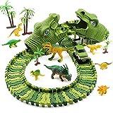 Feleph Dinosaurier Autorennbahn, Dinosaurier Spielzeug Rennbahn Kinder ab 3 4 5 6 7 8 Jahre und Auf, Magic Tracks für Jungen Mädchen mit Anderen Trax Bahne Kompatibel