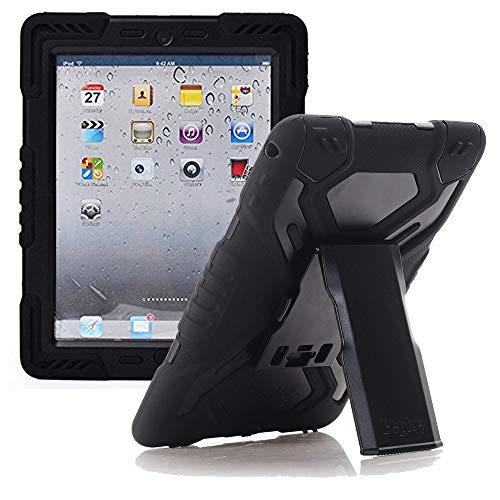 iPad Air 2 Hülle, Meiya multifunktionale Silikon stoßfest wasserdicht Drop robuste Fall, Heavy Duty Case, Kindersichere Hülle Kind Schutzhülle Geschenk für Apple iPad Air 2 schwarz/schwarz