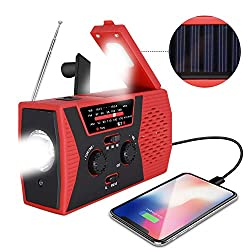 2020 Upgraded Emergency Solar Hand Crank Radio, RegeMoudal Hand Crank AM/FM/NOAA...
