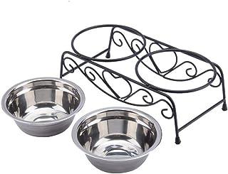 UEETEK ペットボウル 食器 犬猫用 ダブル 餌入れ ステンレス製 取り外し可能 ペットボウルスタンドセット