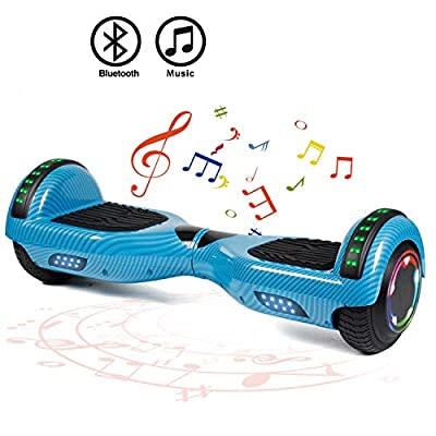 """FLYING-ANT Hoverboard Self Balancing Scooters 6.5"""" Flash Two-Wheel Self Balancing Hoverboard with Bluetooth Speaker and LED Lights for Kids and Adults Gift(Carbon Blue)"""