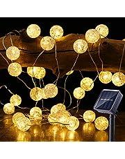 BrizLabs Lichtsnoer op zonne-energie, 50 leds, met kristallen bollen, warmwit, 7 m, 8 modi, IP65 waterdicht, verlichting voor tuin, bomen, terras, Kerstmis, bruiloften, feesten