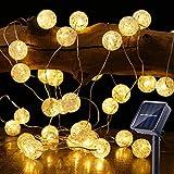Guirnalda Luces Exterior Solares, BrizLabs 7M 50 LED Cadena de Luces Bolas Decorativas Impermeable 8 Modos Iluminación para Interiores Exteriores Jardín Navidad Terraza Patio Fiestas, Blanco Calido