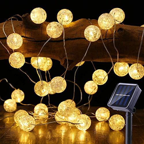 Solar Lichterkette Aussen, BrizLabs 50 LED Knistern Kristall Kugeln Warmweiß Außenlichterkette 7m 8 Modi IP65 Wasserdicht Beleuchtung für Garten, Bäume, Terrasse, Weihnachten, Hochzeiten, Partys