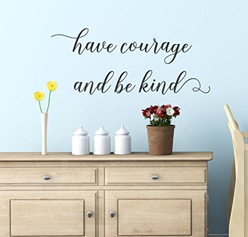 "Wall Decor Plus More WDPM3905 Wall Decal Have Courage Be Kind Inspirational Wall Decals Vinyl Sticker Wall Words, 23x10"", Black"