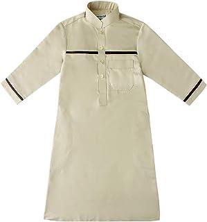 GladThink Boys Muslim Thobe with Long Sleeves Arab Wear Mandarin Collar