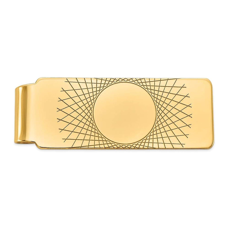 帝国主義添加上級メンズ14?KイエローゴールドCarved fold-overお金クリップ、20?mm幅