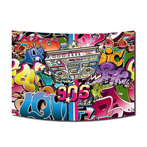 FiVan Disco Party Banner Hintergrund – blendfreie Rückseite aus Vinyl bis 80er 90er Jahre Party Dekoration Fotobooth Hintergrund, XT-7530-Tapestry, 79