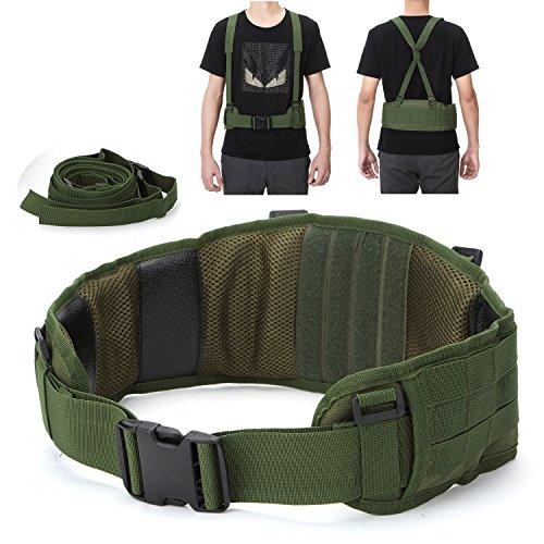 YAHILL® Regolabile Cintura Molle Militare Tattica di Sicurezza Attrezzature di Airsoft di Combattimento con Cinghia Gratis per Sport all'Aria Aperta (Verde Militare)