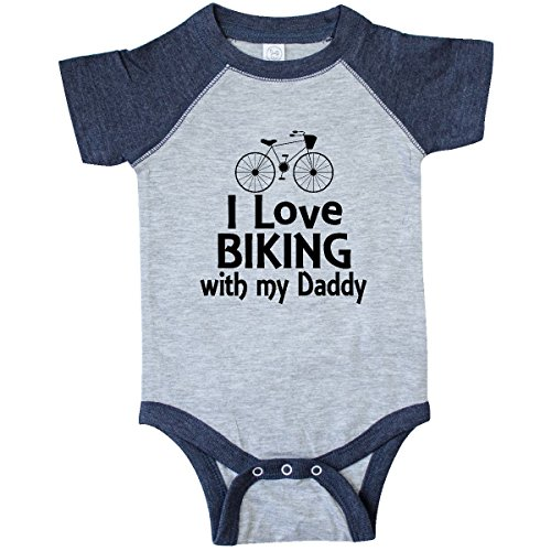 inktastic I Love Biking with Infant Creeper 18 Months Vintage Heather and Navy