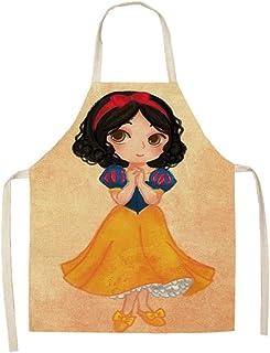 Apron,Cotton Linen Apron Cartoon Girls Kitchen Aprons for Woman Home Decor Cotton Linen Sleeveless Apron Cooking Baking Wa...