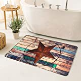 Uphome Rustic Bathroom Rugs 24'' x 39'' Barn Star Flannel Foam Bath Mat Soft Non-Slip Machine-Washable Bath Rug Vintage Western Texas Star on Brown Floor Carpet for Bathtub Shower