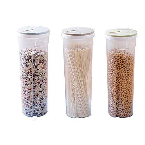 Mein HERZ 3 STK Vorratsgläser, Multifunktional Spaghetti/Pasta/Nudel Kunststoff Vorratsdose Snacks Essstäbchen Behälter Kanister mit Deckel,10,5 * 28,6cm/4,1 * 11,3Zoll(Hellblau/Khaki/Hellgrün)