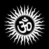 アウトドア ステッカー 15.7CM * 15.7CMビニールステッカー謎オムヒンドゥー教の宗教的なインドのサンスクリットシンボル車のステッカーブラック/シルバー アウトドア ステッカー (Color Name : Silver)
