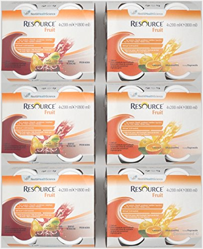 Resource Fruit 2 - Sorten Mischkarton mit 24 Flaschen, Geschmacksrichtungen: 12x Orange und 12x Birne-Kirsche - im exclusiven ConsuMed Bundle inkl. Produktplakat