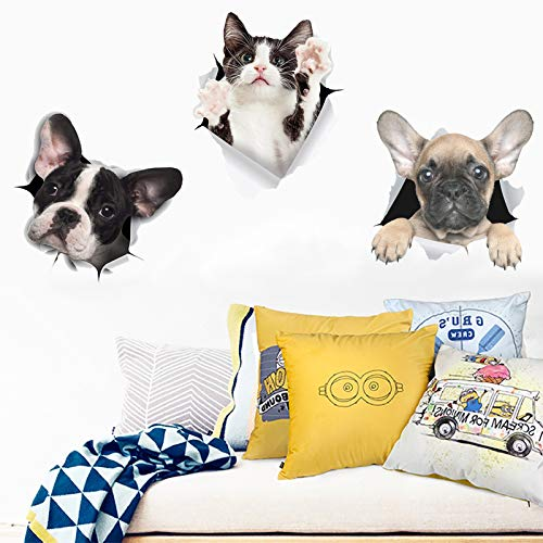 3PCS 3D Cat Wall Stickers, TANOKY Removable Cute French Bulldog Poster Cat Wall Decal, Peel and Stick Animal Wallpapers Art Murals for Nursery Room Toilet Kitchen Offices