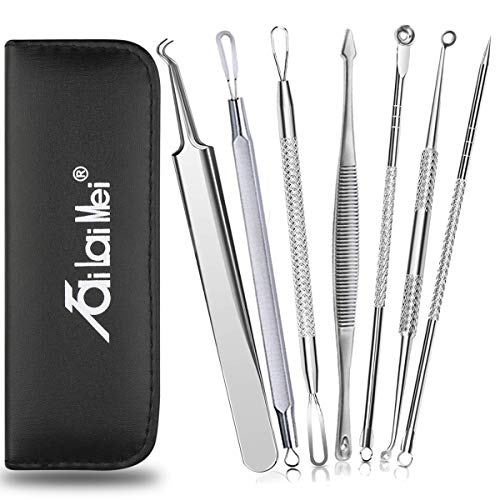 7-Piece Blackhead Remover Kit - Comedone Extractor Tool set for Facial Acne and Treatment for Blemish, Whitehead Popping, Zit Removing for Risk Free Nose Face Skin with Metal Case