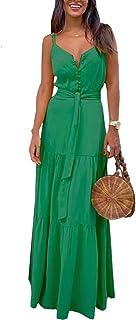 LucaSng Women Summer Maxi Dress Personality V-Neck Splicing Suspender Dresses