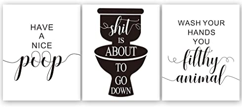 """Funny Bathroom Quote and Saying Art Print Wash Your Hand Lettering Wall Poster Painting, Set of 3(8""""10""""Unframed) Black and White Toilet Sign Wall Art for Home Decor"""