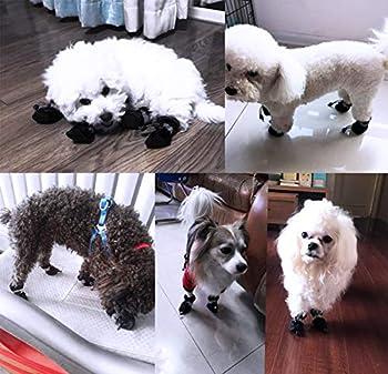 YAODHAOD Dog Boots - Protecteur de Patte, Chaussures de Chien Antidérapantes , Ces Chaussures de Chien Confortables à Semelle Souple sont Dotées de Sangles Réfléchissantes (6, Noir)