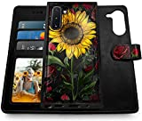 Shields Up Galaxy Note 10 Wallet Case, [Detachable] Magnetic Wallet Case with Card Slots & Wrist Strap for Girls/Women, [Vegan Leather] Cover for Samsung Galaxy Note 10 -Rose Flower/Sunflower
