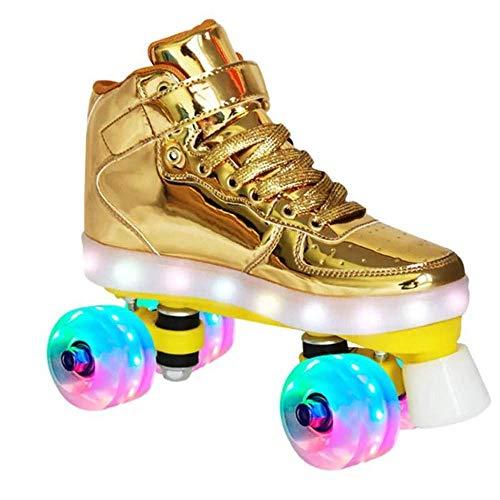 MY1MEY Single Wheel Sneaker Schuhe Quad Rollschuhe für Kinder mit LED-Leuchten - Rollschuhe mit beleuchteten Rädern - Erwachsene Kinder Jugendliche Rollschuhe, Gold, 37