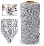 Macrame cuerda 100m x 3mm hilo macrame hilo algodon macrame Cuerda de Algodón Natural,para Envolver Regalo Navidad, Colgar Fotos,DIY Artesanía (gris)