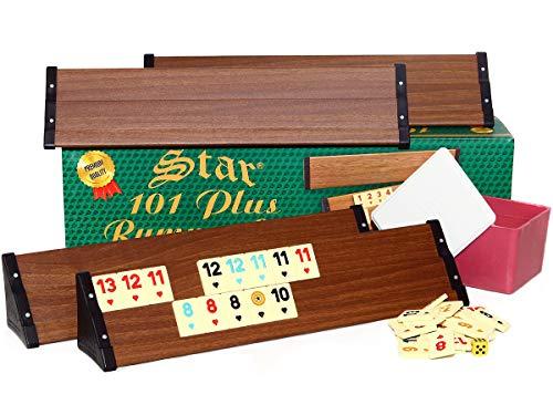 Semus Star 101 Plus Rummy Set Okey - hochwertige Verarbeitung & Materialien (Kunststoff-Spielbänke mit Holz-Furnier - leicht und stabil & Melaminsteine) (Braun)