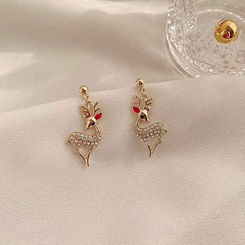 WMYATING The earrings are fashionable and beautiful, the sh Erin Earring Women'S Elegant Jewelry Christmas Pearl Deer Earrings Reindeer Stud Earrings