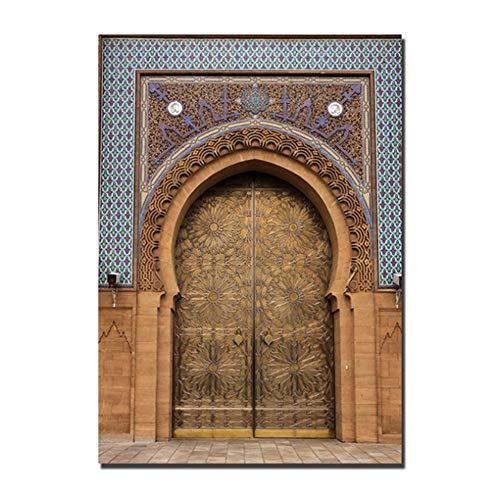 Oude Poort Marokko Kunst Muur Canvas Schilderij Kunstwerk Afbeeldingen voor Woonkamer Badkamer Woondecoratie -50x70cm Geen lijst