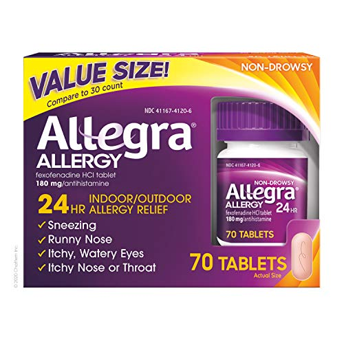 Allegra Adult 24 Hour Allergy Relief 70-Count Long-Lasting Fast-Acting Antihistamine for Noticeable Relief from Indoor and Outdoor Allergy Symptoms