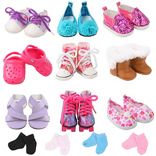 9 Pairs of Skates Classic Clog Sequins Casual Shoes with 2 Pairs Socks Doll Accessories for 18 Inch Dolls