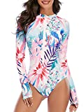 Century Star Women's long sleeve one piece swimsuit Athletic Rash Guard Zipper Floral Printed Surfing Swimsuit Bathing Suit 02 Watercolor 4-6