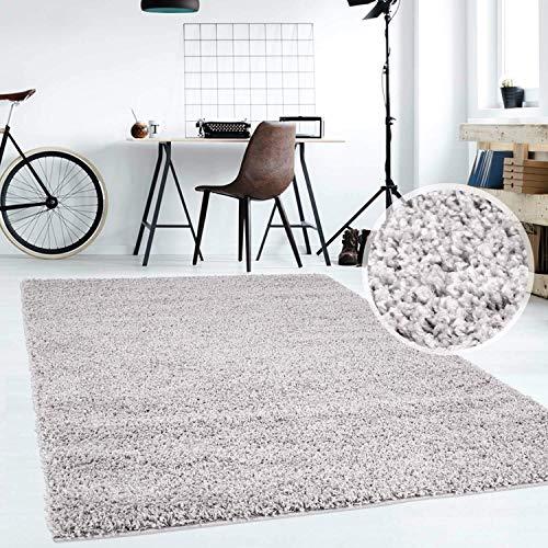 Hochflor Teppich | Shaggy Teppich fürs Wohnzimmer Modern & Flauschig | Läufer für Schlafzimmer, Esszimmer, Flur und Kinderzimmer | Langflor Carpet grau 060x090 cm
