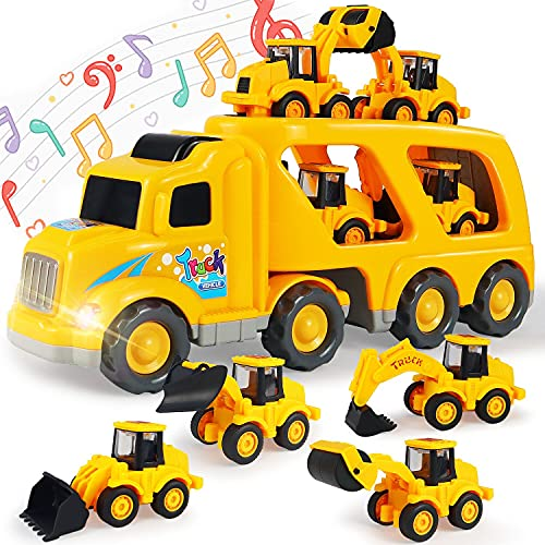 Construction Toy Trucks for 3-6 Year Old Boys & Girls  5 in 1 Toy Cars with Light and Sound  Friction Power Play Vehicles  Gift Toys for Kids and Toddlers Ages 3-6