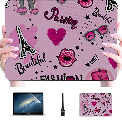 MacBook Pro 13 Cover Woman Shoe and Makeup Plastic Hard Shell Compatible Mac MacBook Pro 13 Cases Protection Accessories for MacBook with Mouse Pad
