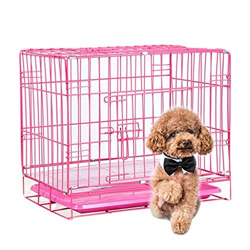 Jaulas Plegable para Mascotas, Perros Pequeños para El Hogar, Perros, Alambre Audaz, Hierro, Puerta Doble Y Bandeja De Metal (Color : Pink, Size : 60 * 42 * 50cm)