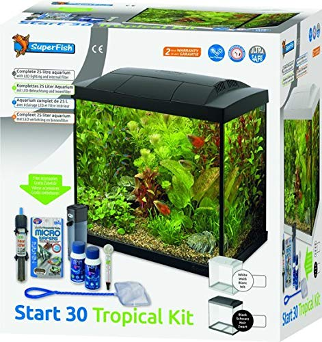 Superfish Aqua LED 30 Tropical Kit Aquarium Met Filter En Verwarming - 36 x 23 x 39 cm - 30L - Zwart