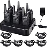 Retevis RT68 Walkie Talkies with Earpiece, FRS Two Way Radios Rechargeable, Walkie Talkies for Adults, License-Free, Walkie Talkie 6 Pack with Headset and 6 Way Multi Unit Charger, for Hotel School