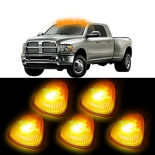 cciyu 5x Amber Cab Roof Top Marker Running Lamps w/White Samsung LED Light Bulbs + 1 Set Wiring Pack Switch Wire Harness Replacement fit for Cab mark Clearance Top Light