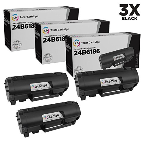 LD Compatible Toner Cartridge Replacements for Lexmark 24B6186 (Black, 3-Pack)