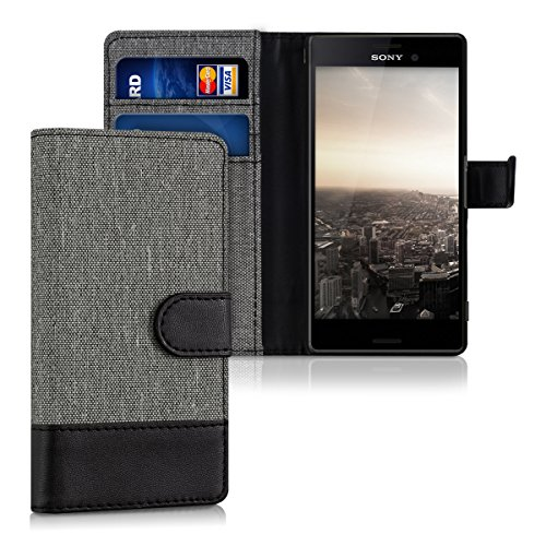 kwmobile Hülle kompatibel mit Sony Xperia M4 Aqua - Kunstleder Wallet Case mit Kartenfächern Stand in Grau Schwarz