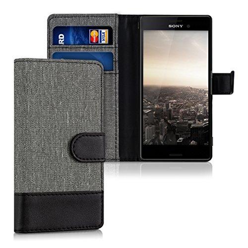 kwmobile Sony Xperia M4 Aqua Hülle - Kunstleder Wallet Case für Sony Xperia M4 Aqua mit Kartenfächern & Stand - Grau Schwarz