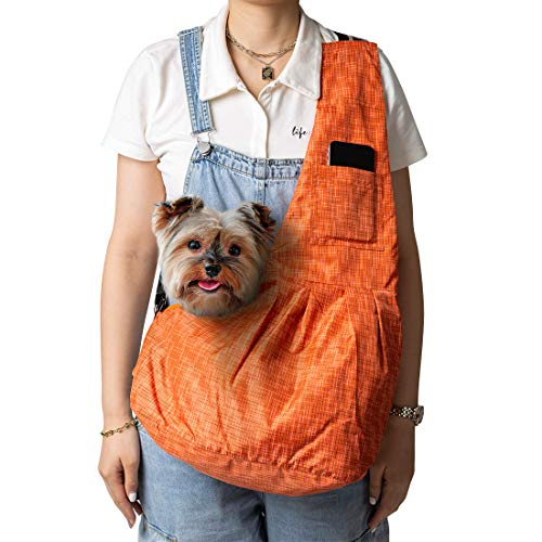 ZolooPet Small Dog and Cat Sling Carrier Adjustable Strap Hands Free Pet Puppy Travel Shoulder Bag Machine Washable with Christmas Pet Bow Tie Orange Review