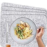 Miqio® - Set de Table Design Feutre et Cuir Lavable. 4 sous-Assiettes. Napperons Premium (Gris Chiné)