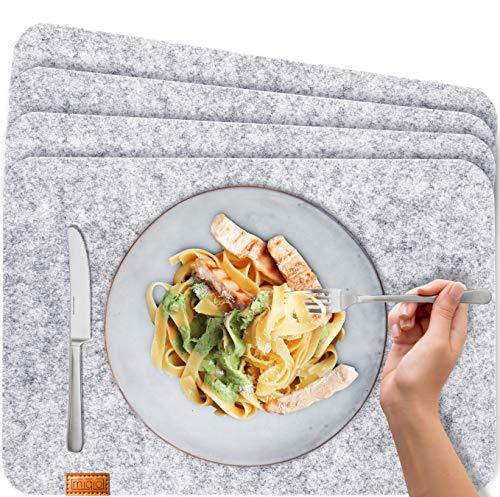 Miqio® - Design Tischset aus Filz | Marken Label aus echtem Leder | 4er Set Platzset (grau meliert) abwaschbar | Filzmatte Tisch Untersetzer Platzdeckchen abwischbar