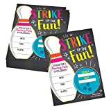 25 Bowling Birthday Party Invitations, Strike Up Some Fun Themed Kids Invite Supplies, Boys Girls Retro Cosmic Ten Pin Style Bday Idea, Galactic Glow Alley Coed Style Printed or Fill in The Blank Card