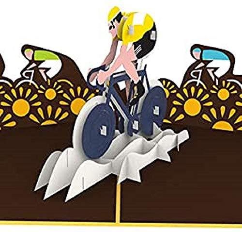 Grußkarte mit Rennrad Fahrern, 3D-POP-Up-Karte, Originelle Glückwunschkarte Fahrrad, Grußkarte, Geschenkkarte, Geburtstagskarten, Bicycle, Radrennen